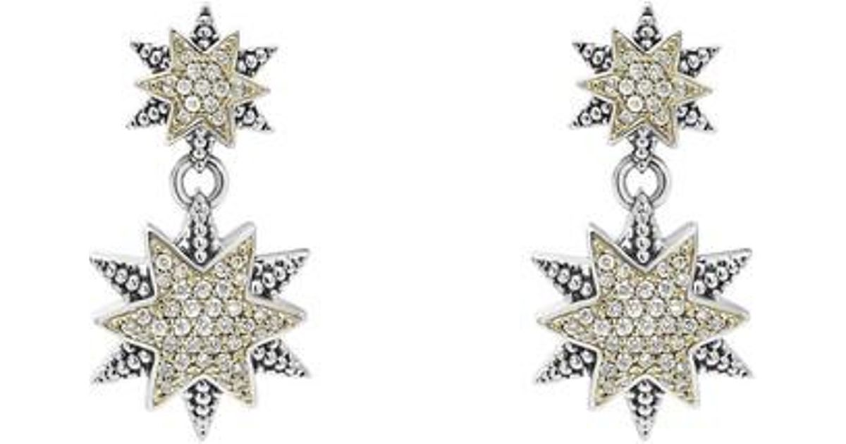 Lagos Diamond Double-Star Drop Earrings 792jbMXHn1