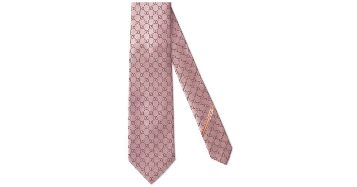 21ff64618 Gucci Fedra Silk Jacquard Tie in Pink for Men - Lyst