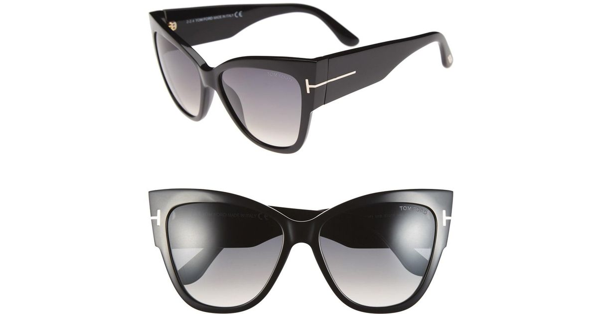 5ad4e9244f1 Lyst - Tom Ford Anoushka 57mm Gradient Cat Eye Sunglasses - Shiny Black   Gradient Grey in Gray - Save 3%