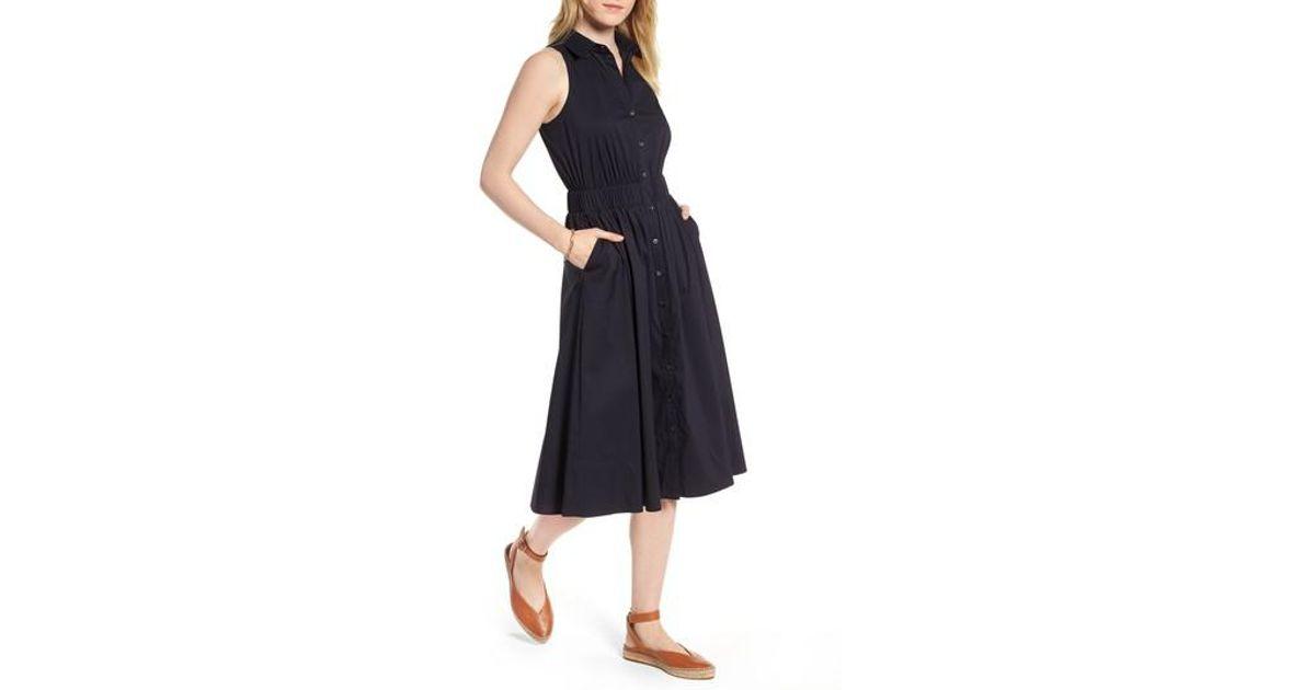b4b3bdf1bb9 Lyst - Nordstrom 1901 Sleeveless Shirtdress in Blue