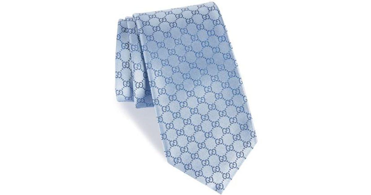 9162fe9c6 Gucci GG-Pattern Silk Jacquard Necktie in Blue for Men - Lyst