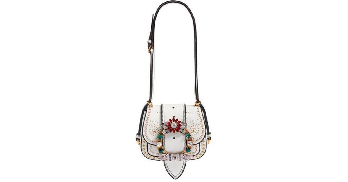 f898a2b6d12a Lyst - Miu Miu Dahlia Madras Leather Shoulder Bag
