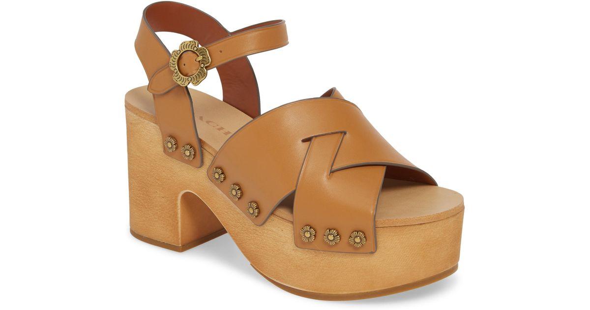dd47358f7 Lyst - COACH Nessa Clog Platform Sandal in Brown