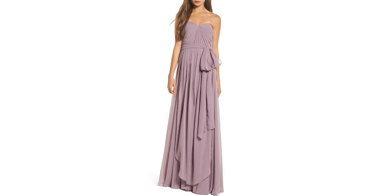8a9734a0b13b Jenny Yoo Mira Convertible Strapless Chiffon Gown in Purple - Lyst