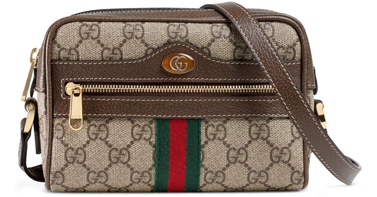 9fc7f6a39 Lyst - Gucci Ophidia Small Gg Supreme Canvas Crossbody Bag -