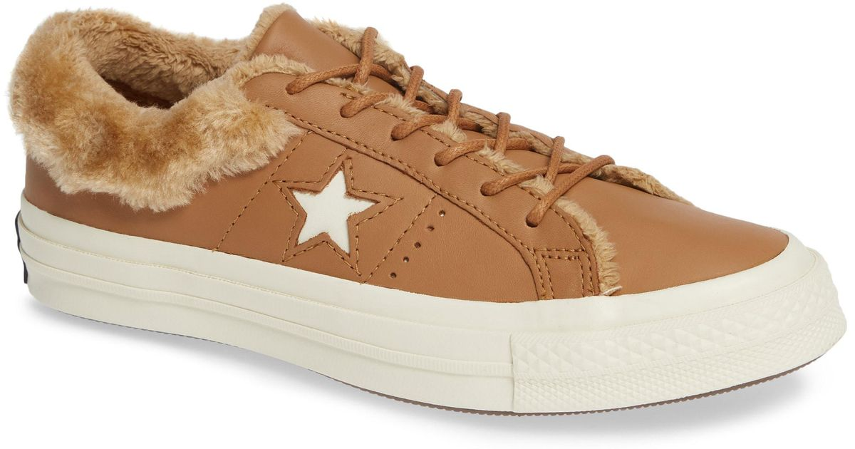 172647f526d Lyst - Converse One Star Street Warmer Faux Fur Lined Low Top Sneaker in  Brown