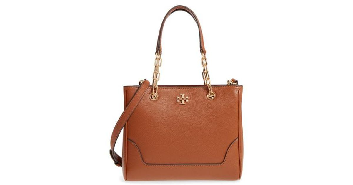 2b89cea5dde Lyst - Tory Burch Small Marsden Leather Tote in Brown