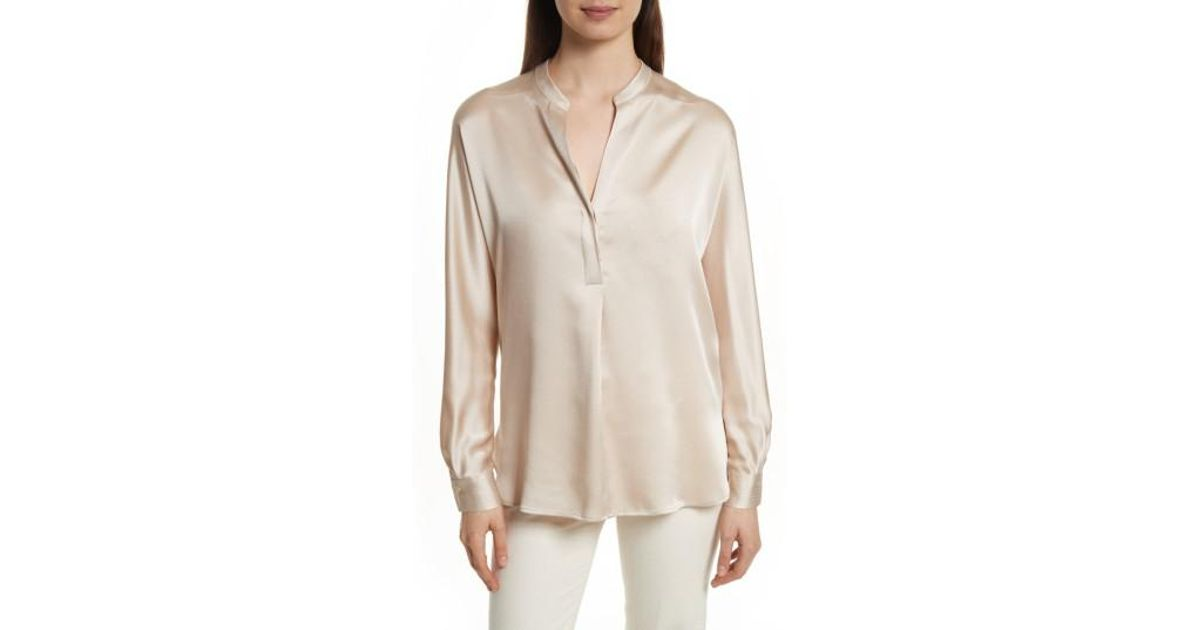 76e766bfa2002 Lyst - Vince Band Collar Silk Blouse in Natural