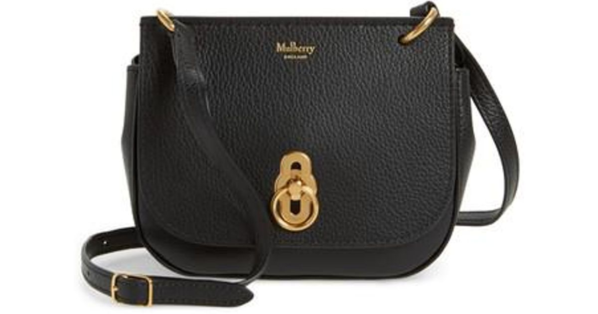 3e207be69063 Lyst - Mulberry Mini Amberley Calfskin Leather Crossbody Bag in Black