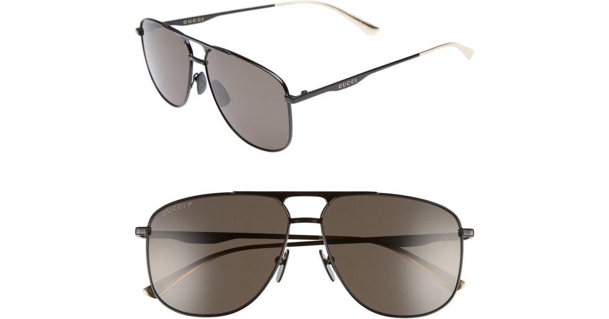 d9d4a1844e Lyst - Gucci 80s Monocolor 60mm Polarized Aviator Sunglasses - for Men