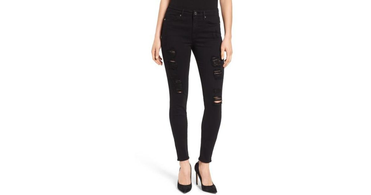 b1e11925519 Lyst - GOOD AMERICAN Good Legs High Rise Ripped Skinny Jeans (white 002)  (extended Sizes) in Black