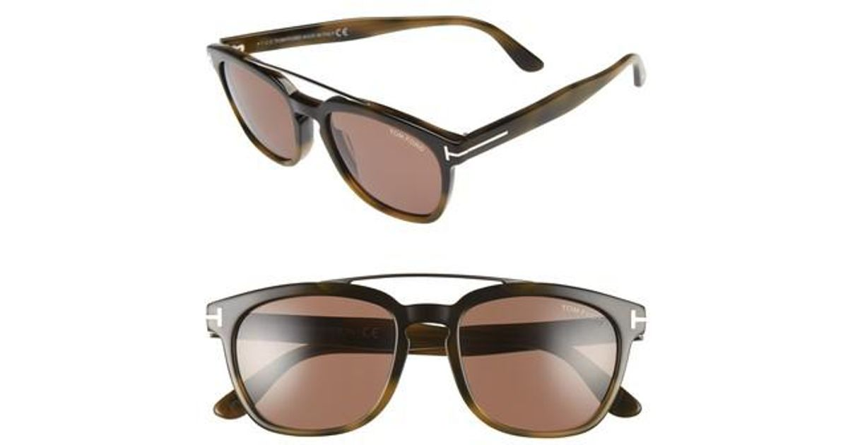 04fcf0798c Lyst - Tom Ford Holt 54mm Sunglasses - Shiny Green Havana brown in Brown