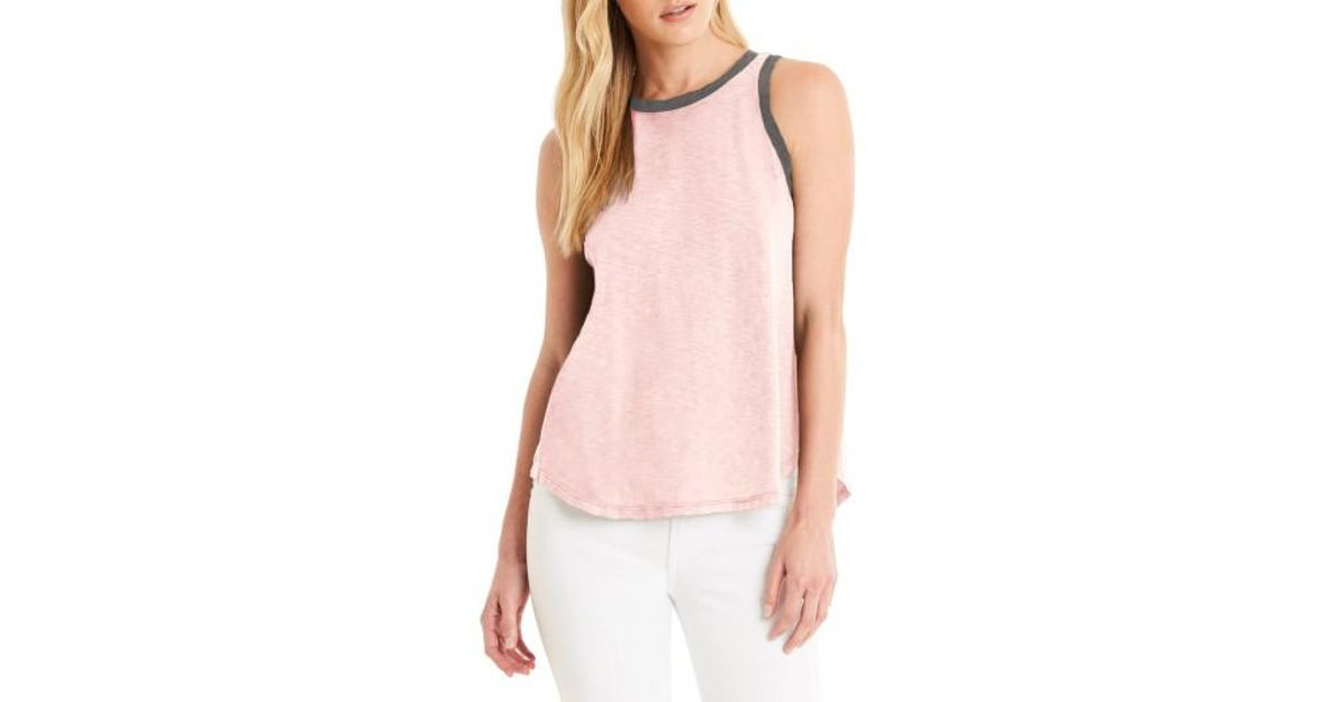 Michael stars contrast trim swing tank in pink lyst for Michael stars t shirts on sale