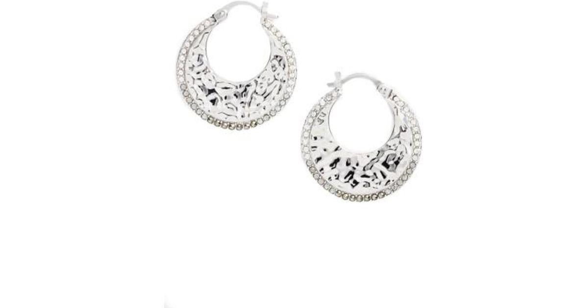 Silver & Swarovski marcasite interlinked hoop stud earrings j2FwY9JT