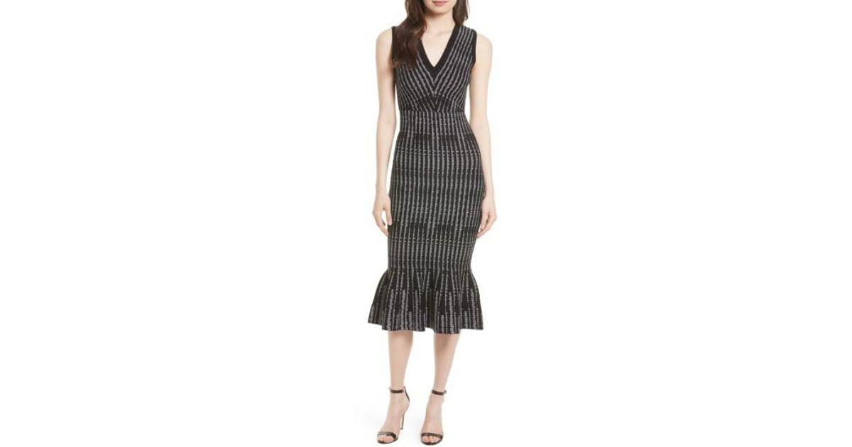 89f21389a2bb Lyst - MILLY Vertical Optic Mermaid Midi Dress in Black