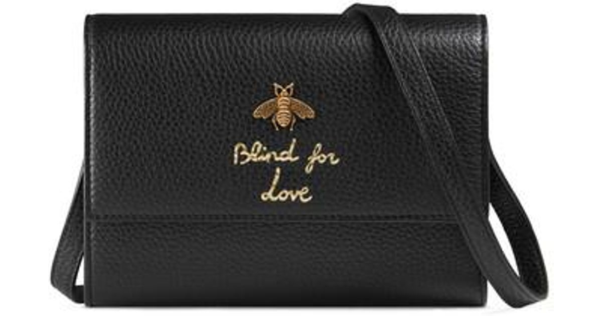 059f7a480440 Gucci Animalier Bee Leather Wallet - in Black - Lyst