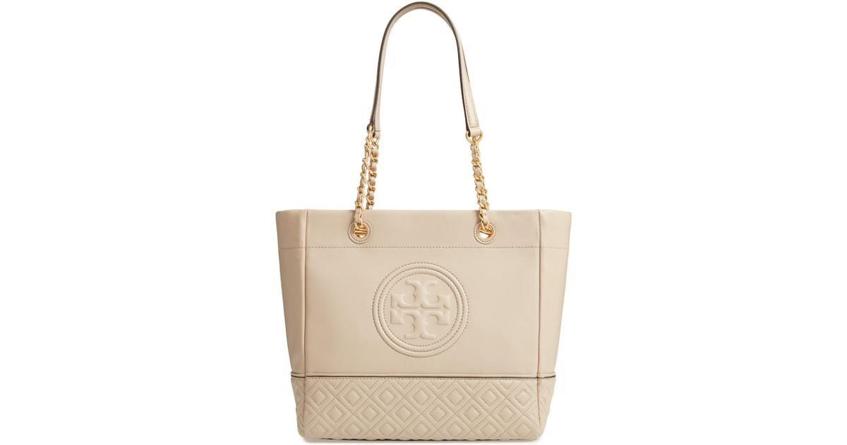 71e0d1948a98 Lyst - Tory Burch Fleming Leather Tote in Gray