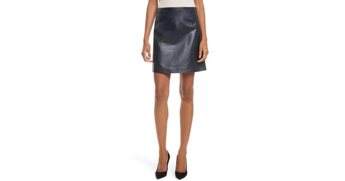 f815df865 Theory Micro Mini Paper Leather Skirt in Blue - Lyst