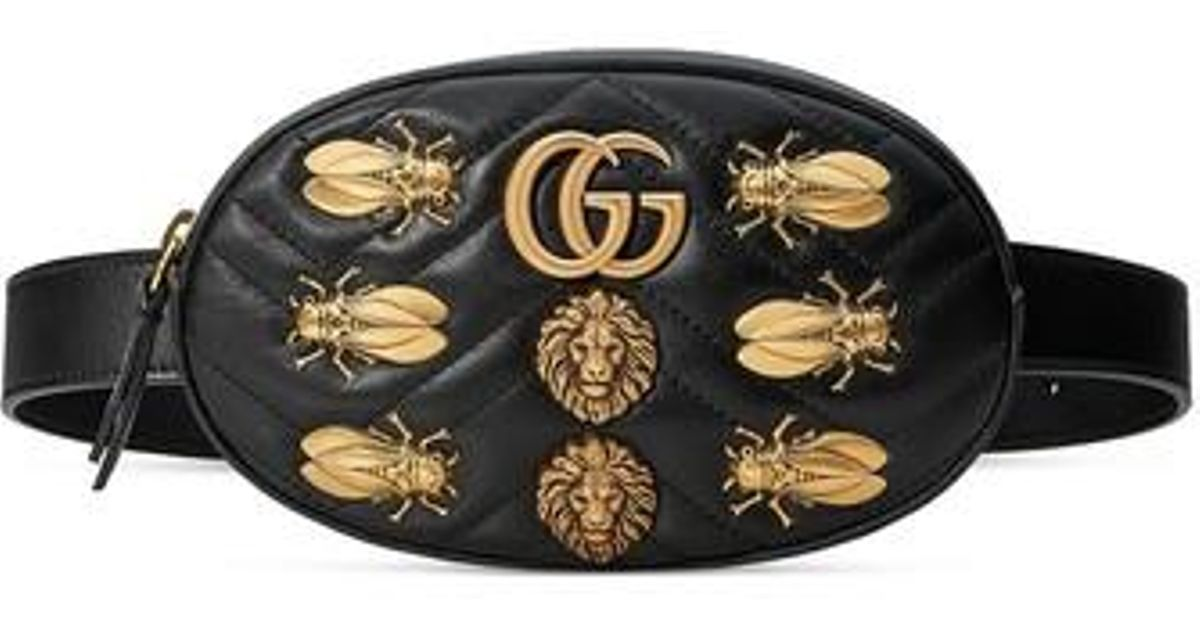 de1285a189d2 Gucci Gg Marmont 2.0 Animal Stud Matelasse Leather Belt Bag in Black - Lyst