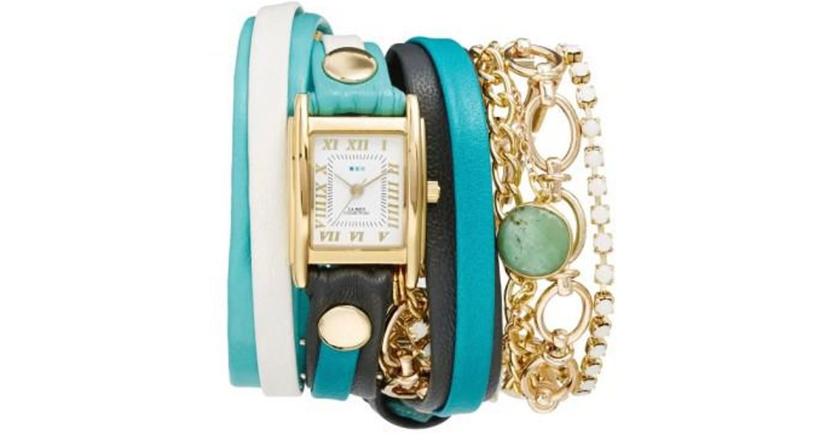 La Mer Collections Metallic Leather Chain Wrap Bracelet Watch Lyst