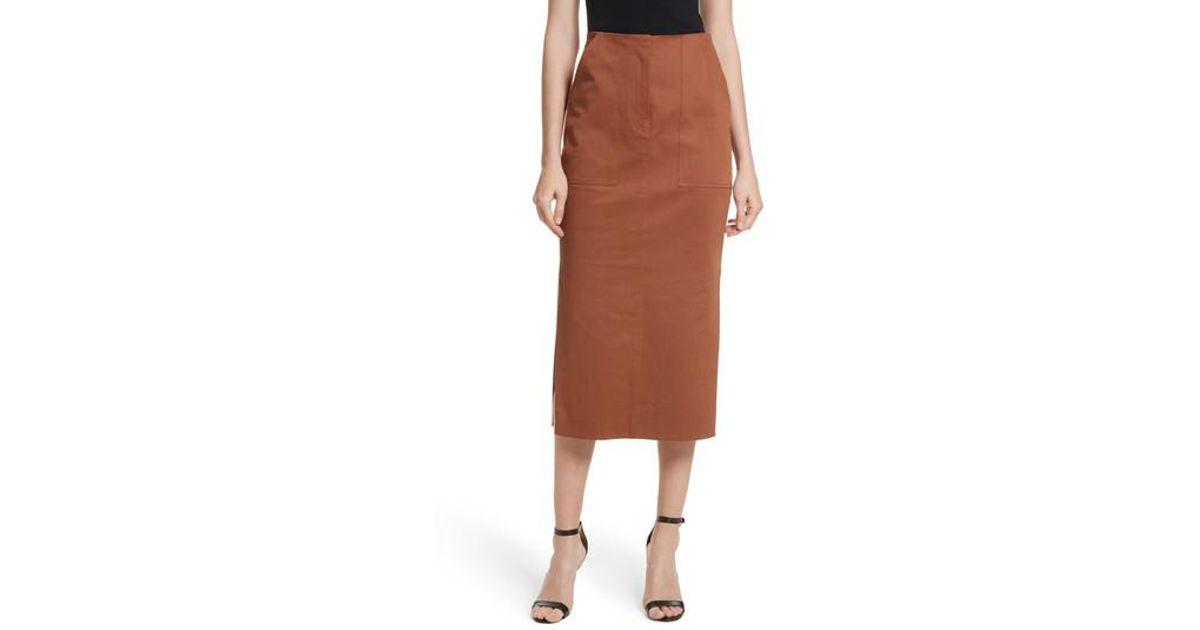b786ef56e6 Diane Von Furstenberg Diane Von Furstenberg Midi Twill Pencil Skirt in  Brown - Lyst