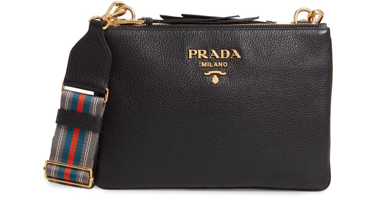 c37a4dd3a70e9d Lyst - Prada Vitello Daino Double Compartment Leather Crossbody Bag in Black