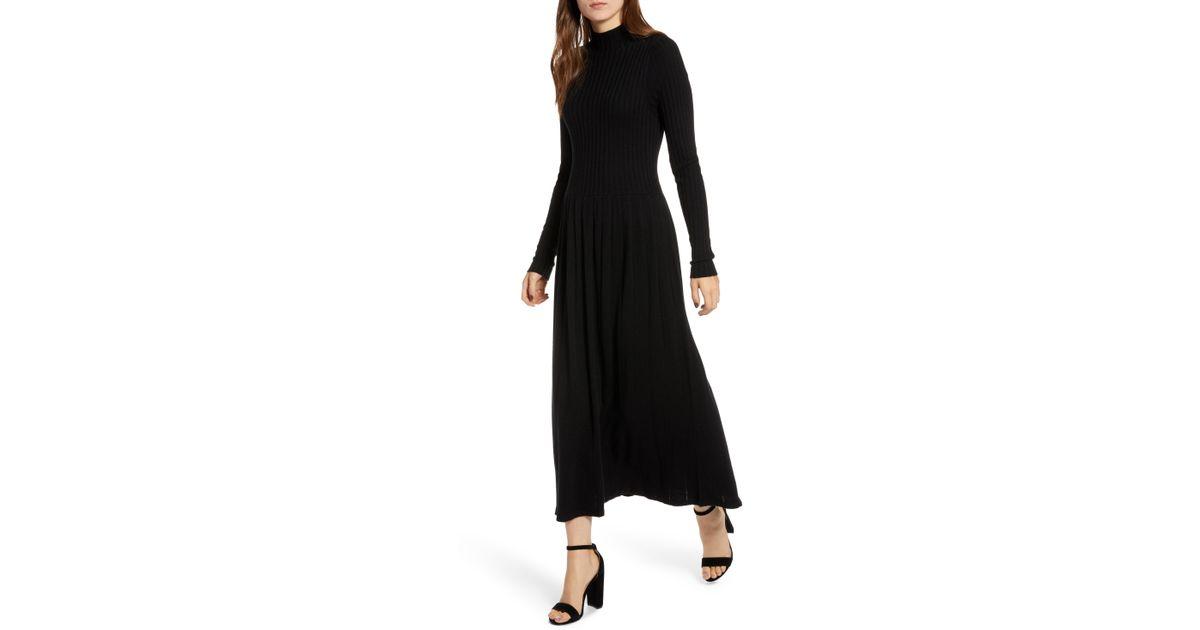 8e23d76290b Hinge Maxi Sweater Dress in Black - Lyst