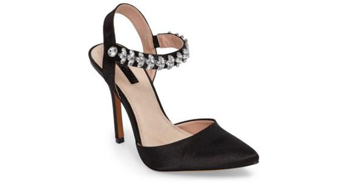 cd6c5d10ae0 Lyst - TOPSHOP Embellished Ankle Strap Pump in Black