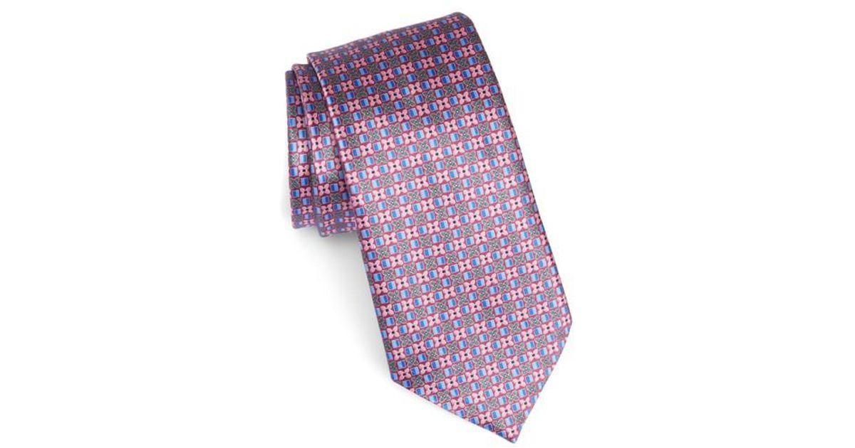 b8a811a6 Ermenegildo Zegna - Pink Geometric Silk Tie for Men - Lyst