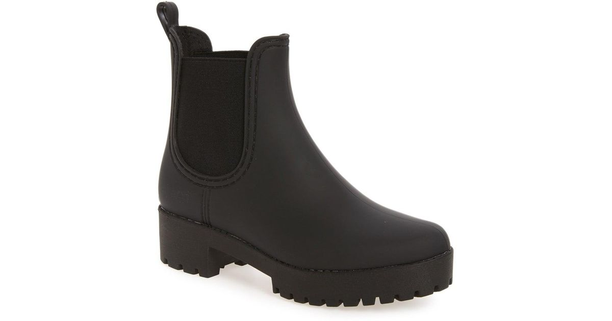 86ef1b48a41 Lyst - Jeffrey Campbell Cloudy Waterproof Chelsea Rain Boot in Black