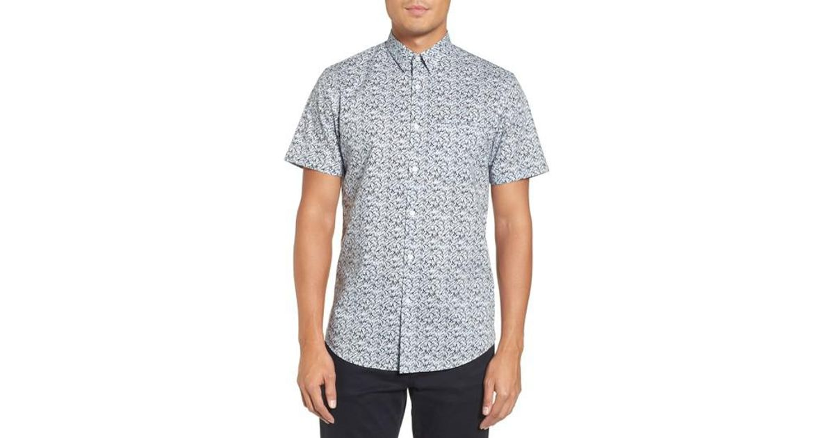 Calibrate slim fit no iron print sport shirt in blue for for No iron dress shirts for men