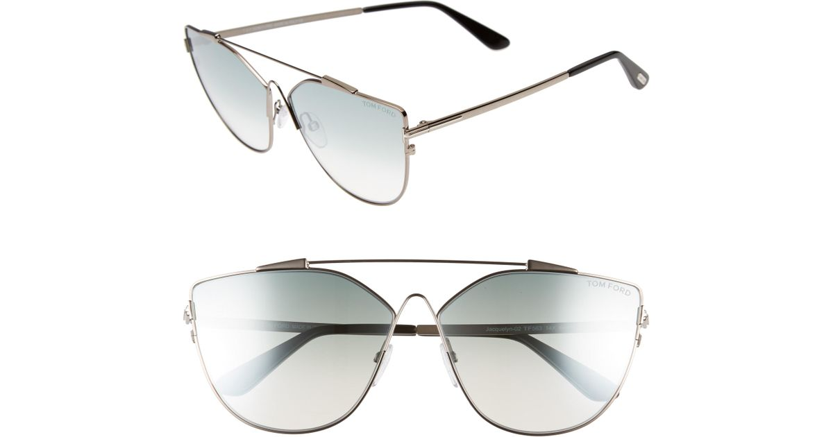 553a5f627c40 Lyst - Tom Ford Jacquelyn 64mm Cat Eye Sunglasses - Light Ruthenium/ Blue  Mirror in Blue