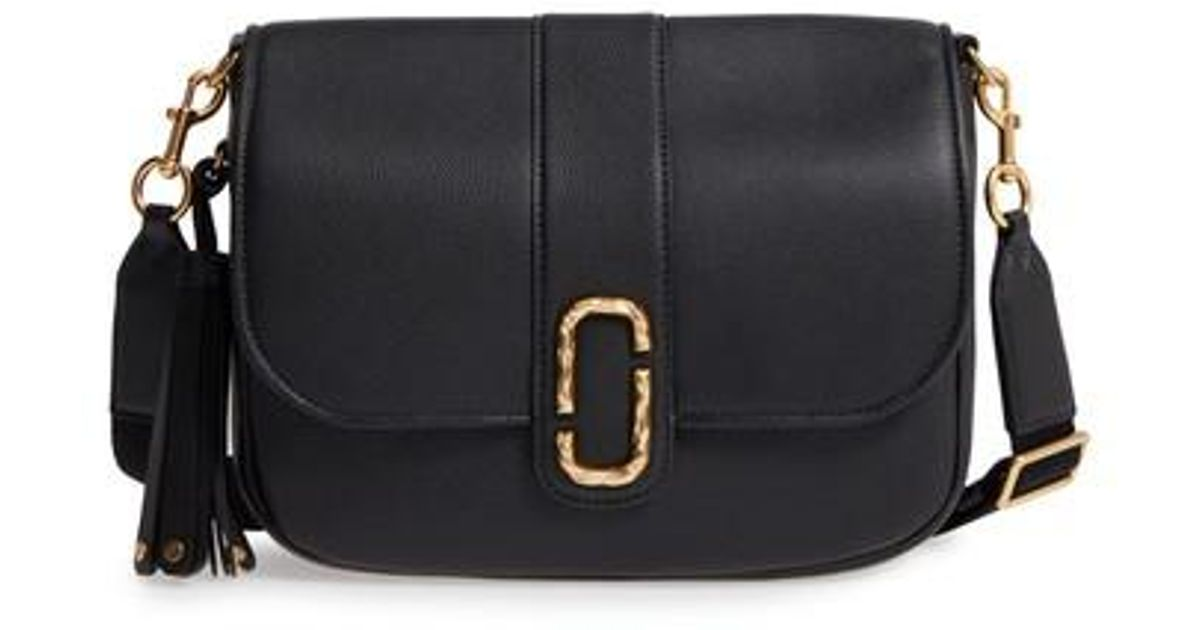 f7922ca351 Lyst - Marc Jacobs Interlock Leather Crossbody Bag in Black