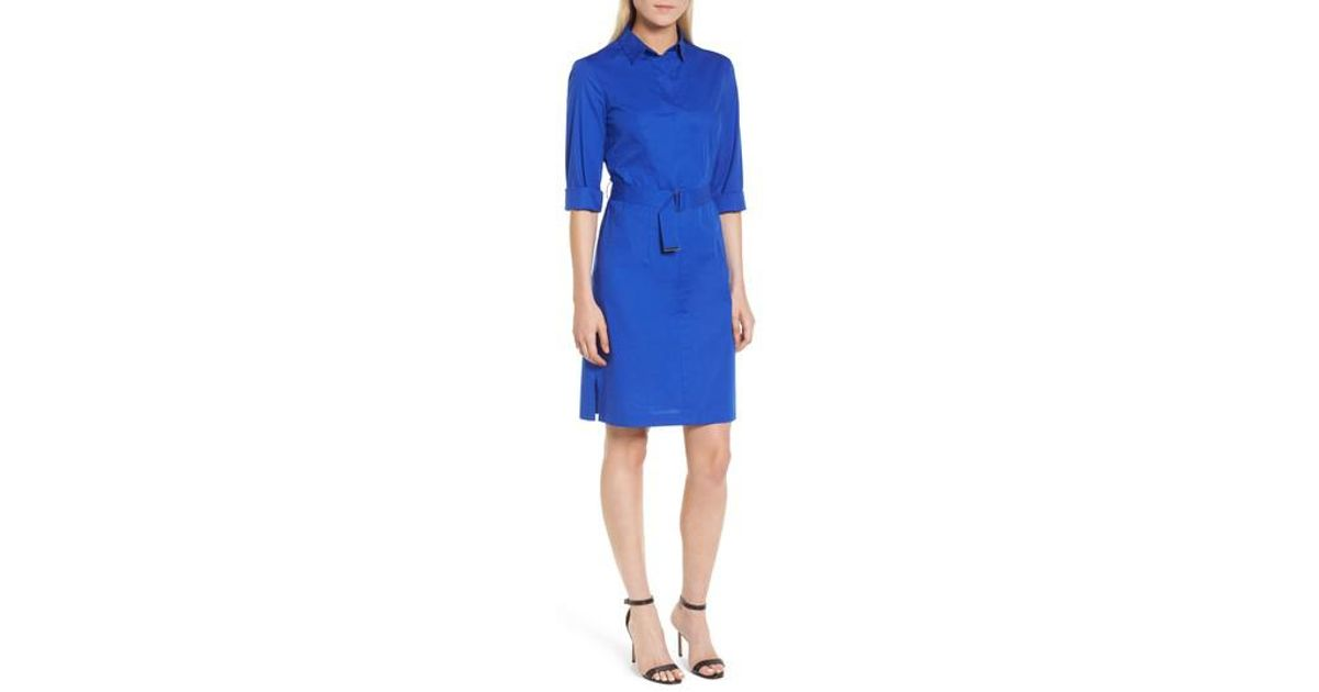 f7f7c8e6d BOSS Stretch Cotton Belted Shirtdress | Dashiri in Blue - Lyst