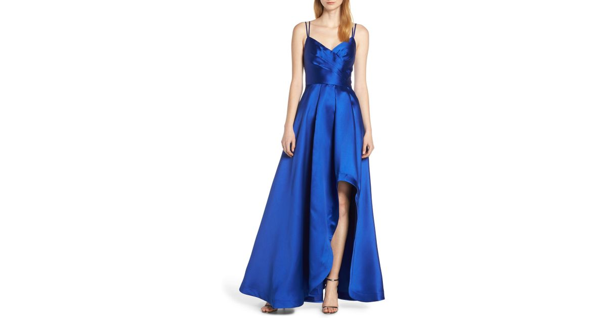0acbc83bbb788 Sequin Hearts Asymmetrical High/low Satin Evening Dress in Blue - Lyst