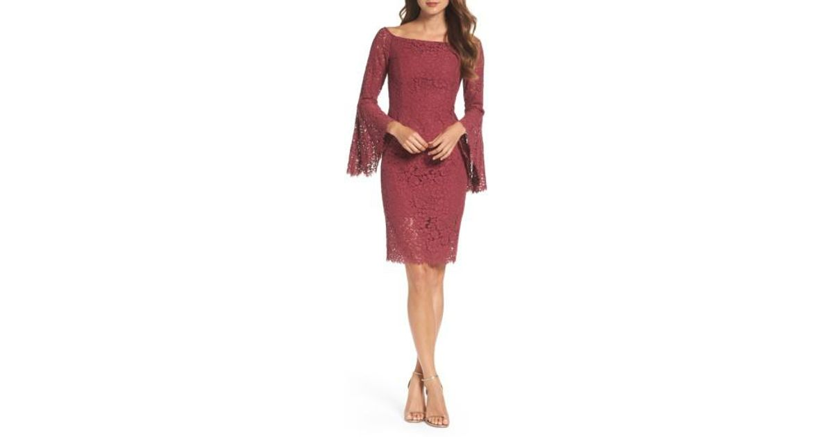 1d24ae3f Bardot Solange Corded Lace Sheath Dress in Red - Lyst