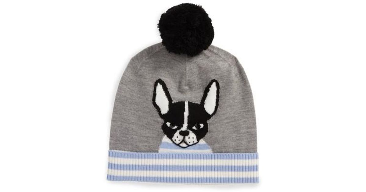 593785fd851 Lyst - Kate Spade Intarsia French Bulldog Wool Beanie in Gray