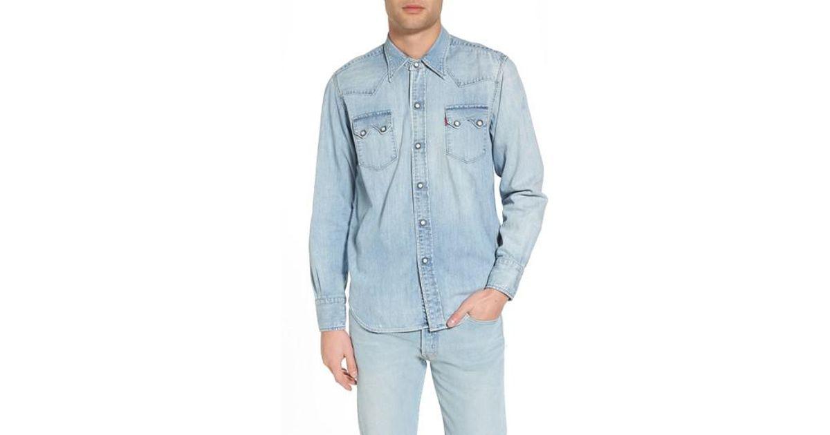 ea5fe899f1 Lyst - Levi s Levi s Vintage Clothing 1955 Sawtooth Trim Fit Denim Western  Shirt in Blue for Men
