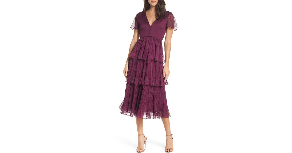 600664c996ab Chelsea28 Tiered Skirt Midi Dress in Purple - Lyst