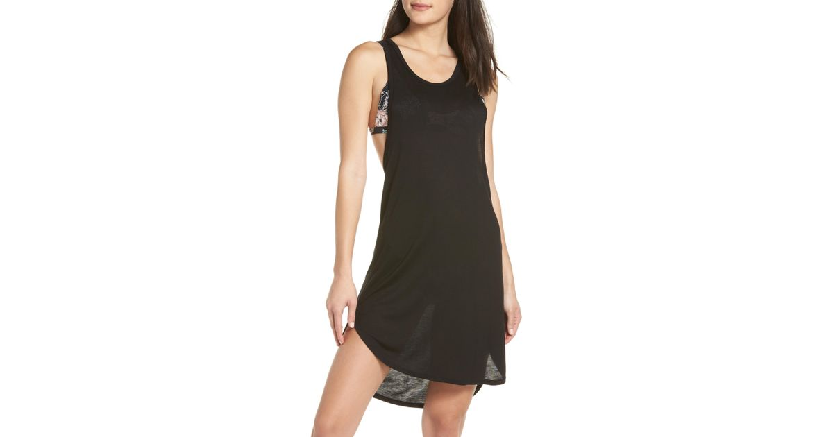 9f32fef46d Leith Racerback Cover-up Tank Dress in Black - Lyst