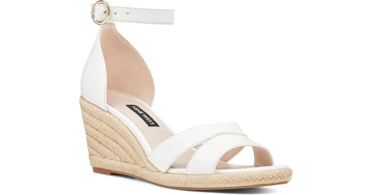 a1057661564 Lyst - Nine West Jeranna Espadrille Wedge Sandal in White