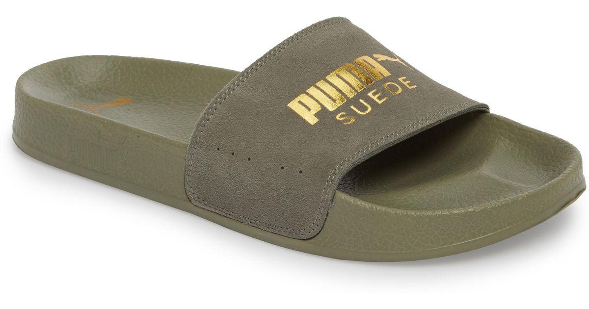 3127146d81c7 puma slides Lyst - PUMA Leadcat Suede Slide Sandal in Gray for Men