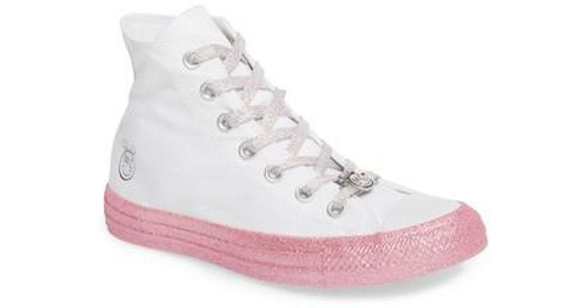 3f8d9bb4a142 Lyst - Converse X Miley Cyrus Chuck Taylor All Star Glitter High Top  Sneaker (women) in White