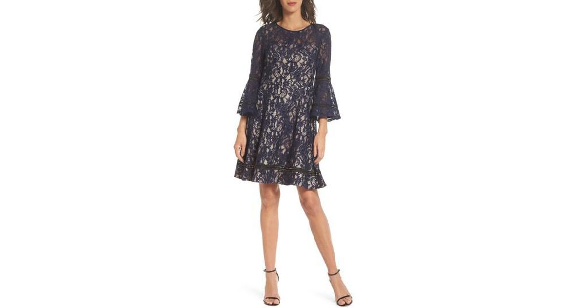 e890ee893 Eliza J Bell Sleeve Lace Fit & Flare Dress - Lyst