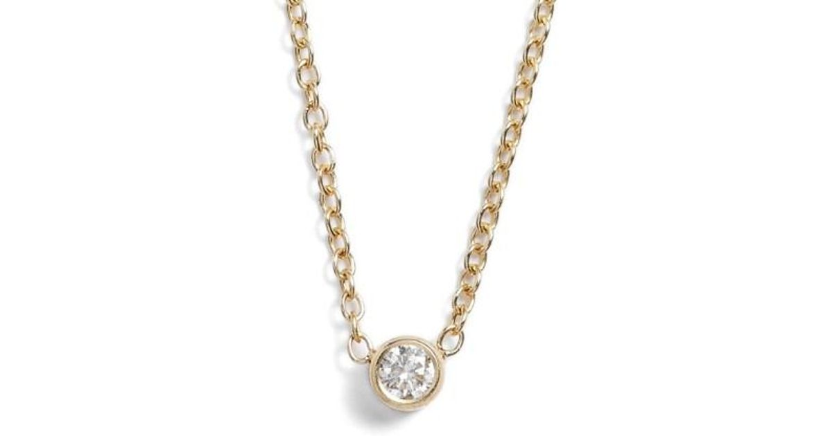 Lyst zoe chicco diamond bezel pendant necklace in metallic aloadofball Choice Image