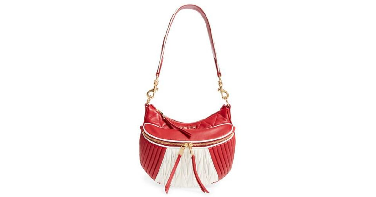 6cdd4f413bbf Lyst - Miu Miu Small Rider Matelasse Leather Shoulder Bag in Red