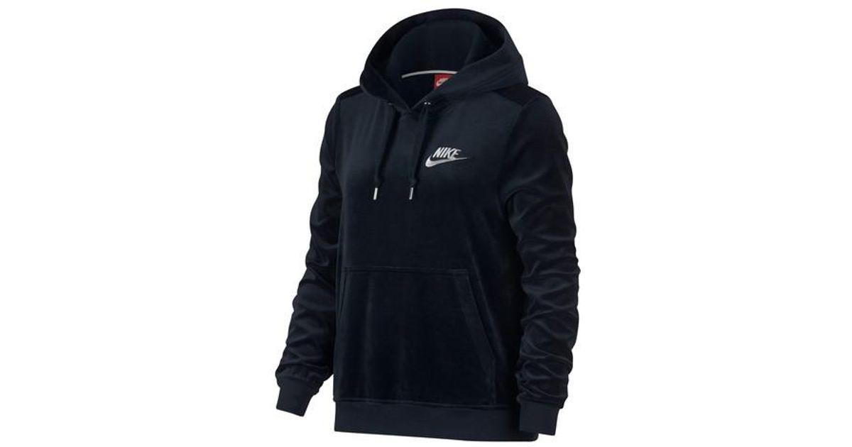 b1555516d718 Lyst - Nike Sportswear Velour Pullover Hoodie in Blue for Men