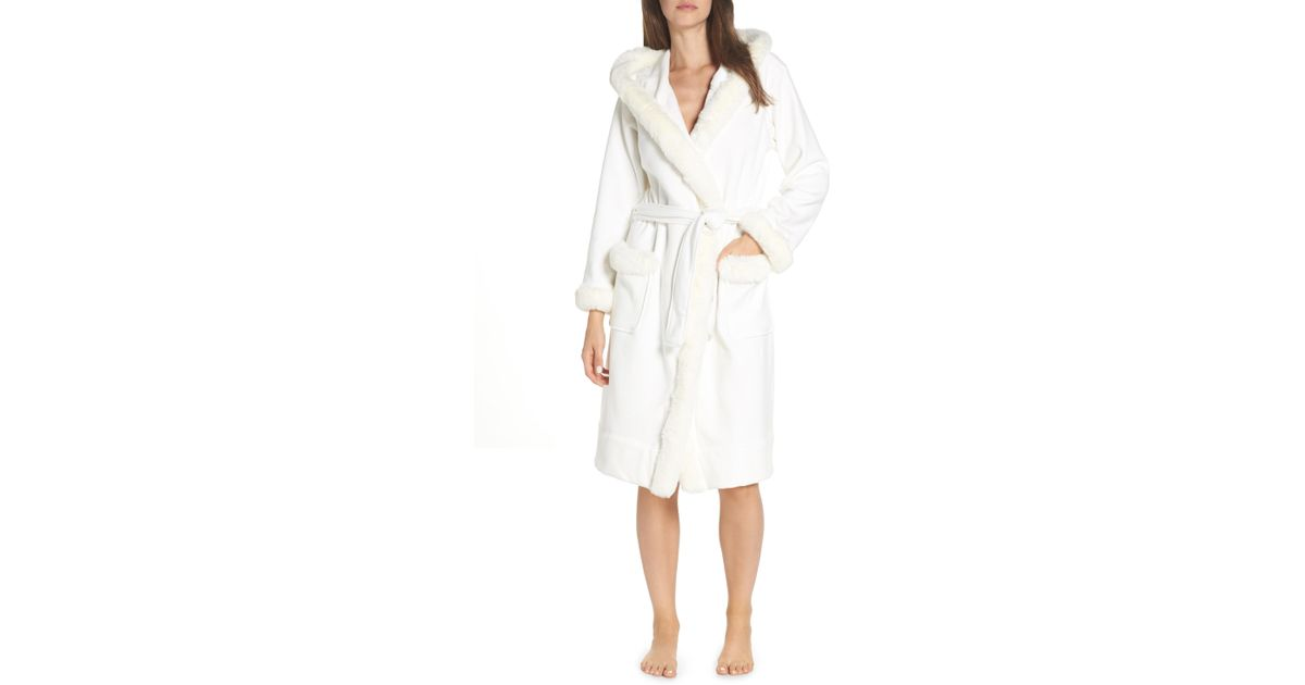 9f4e8f182a Lyst - Ugg Ugg Duffield Ii Deluxe Faux Fur Trim Robe in White
