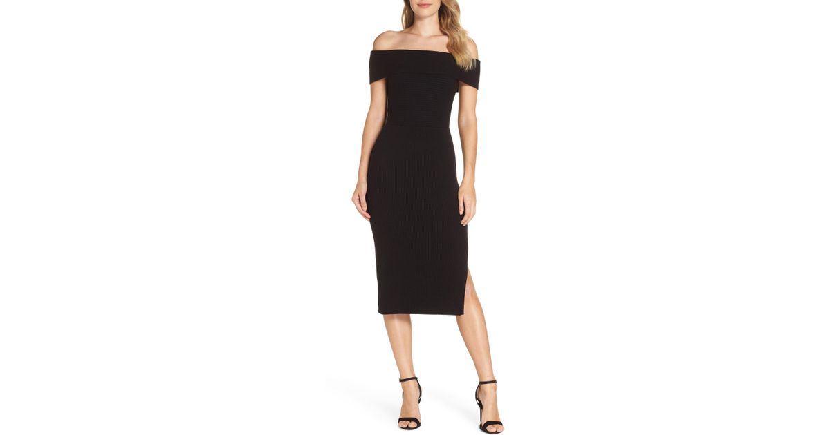 Lyst Eliza J Off The Shoulder Midi Sweater Dress In Black