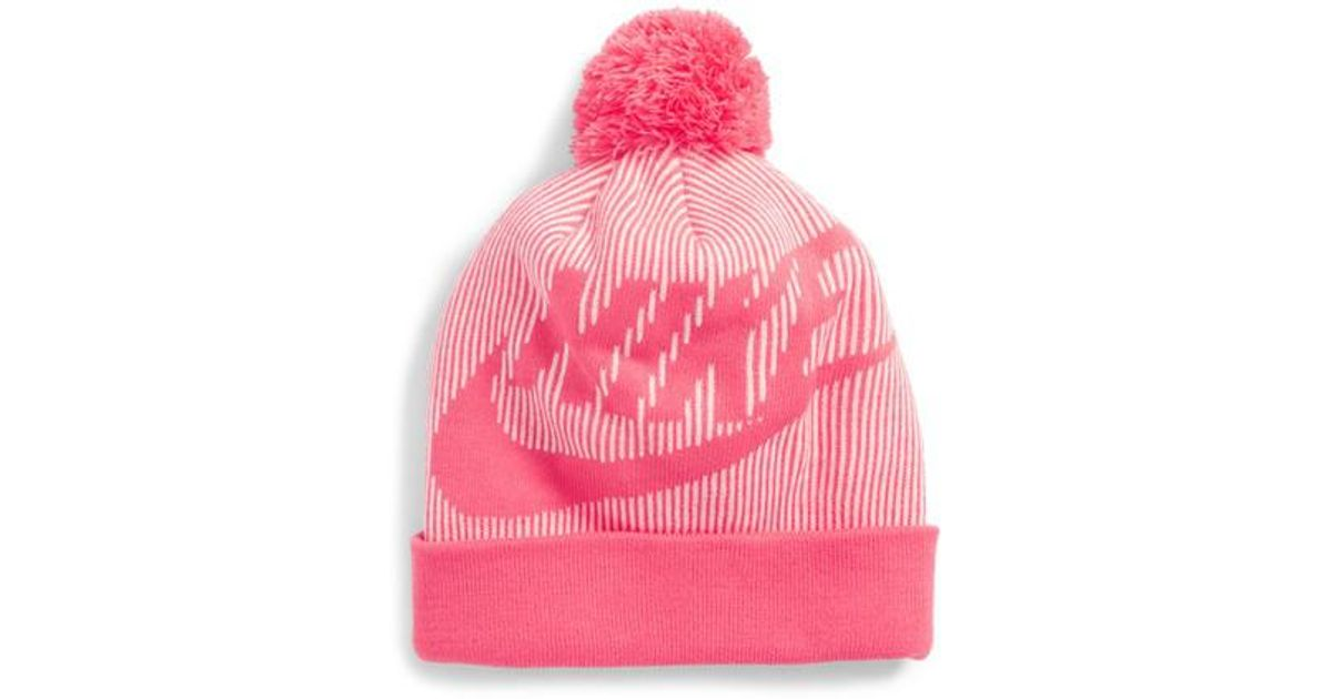 2af61b524db Lyst - Nike Sportswear Beanie With Removable Pom in Pink